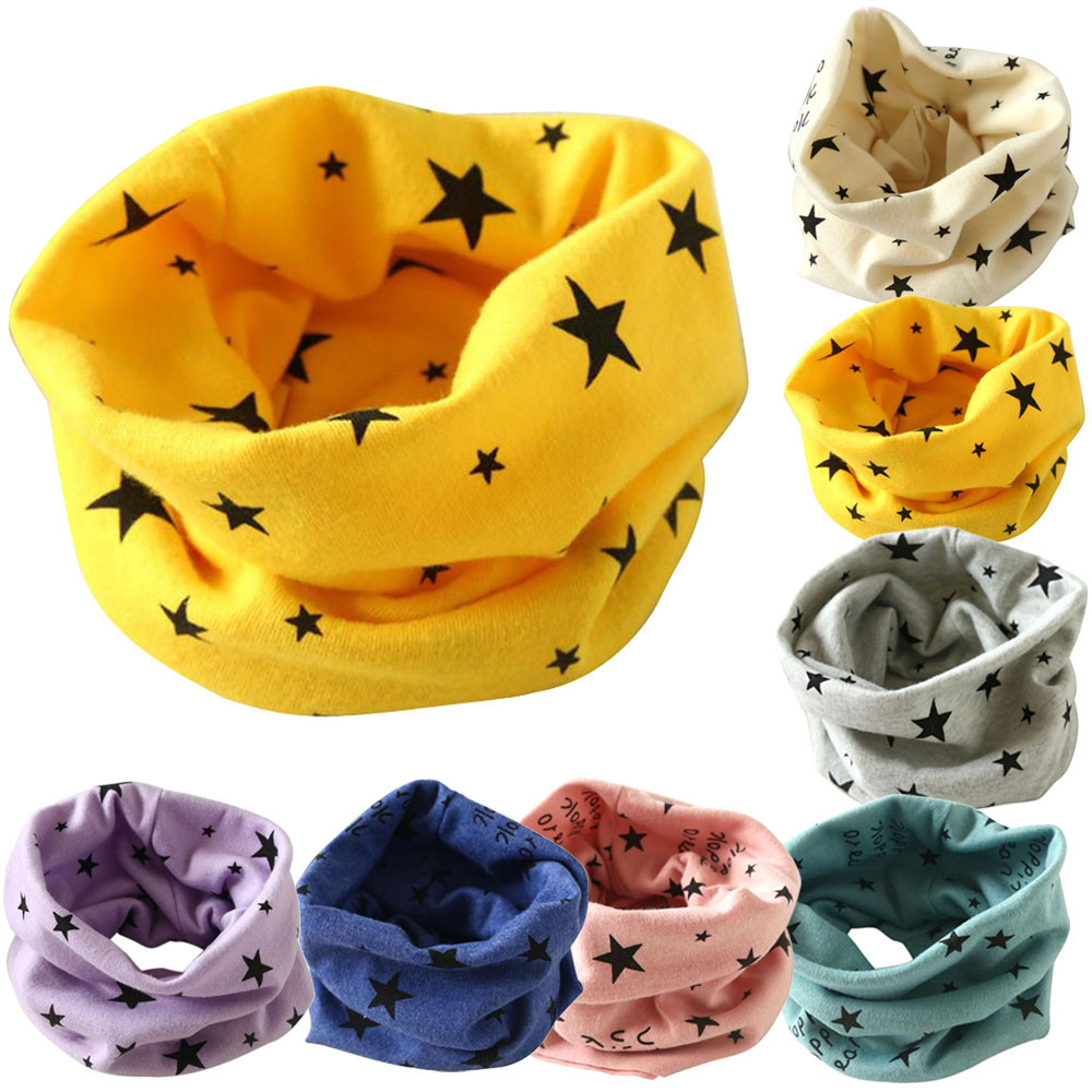 New Cartoon Warm Baby Winter Scarf Autumn Boys Cotton Neck Ring Cute Girls Collar Neckerchief Kids Snood Scarves Baby Bibs