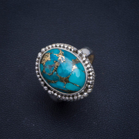 Natural Turquoise Handmade Unique 925 Sterling Silver Ring 7.25 B1077