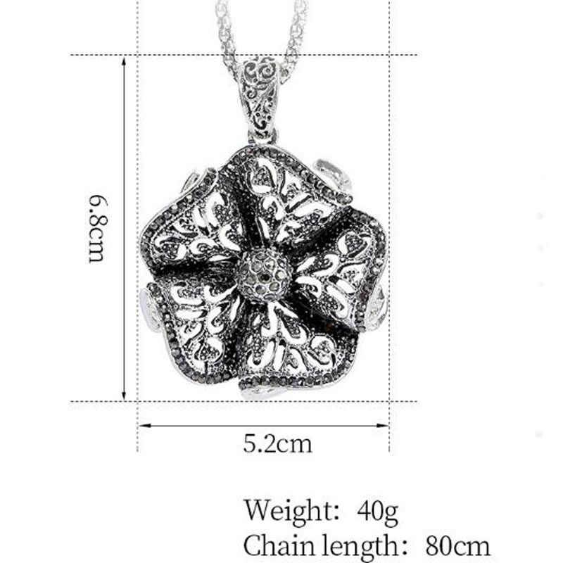 Vintage Flower długi naszyjnik modny sweter z dziurami naszyjnik łańcuch dla kobiet Ladies Party biżuteria świąteczne prezenty