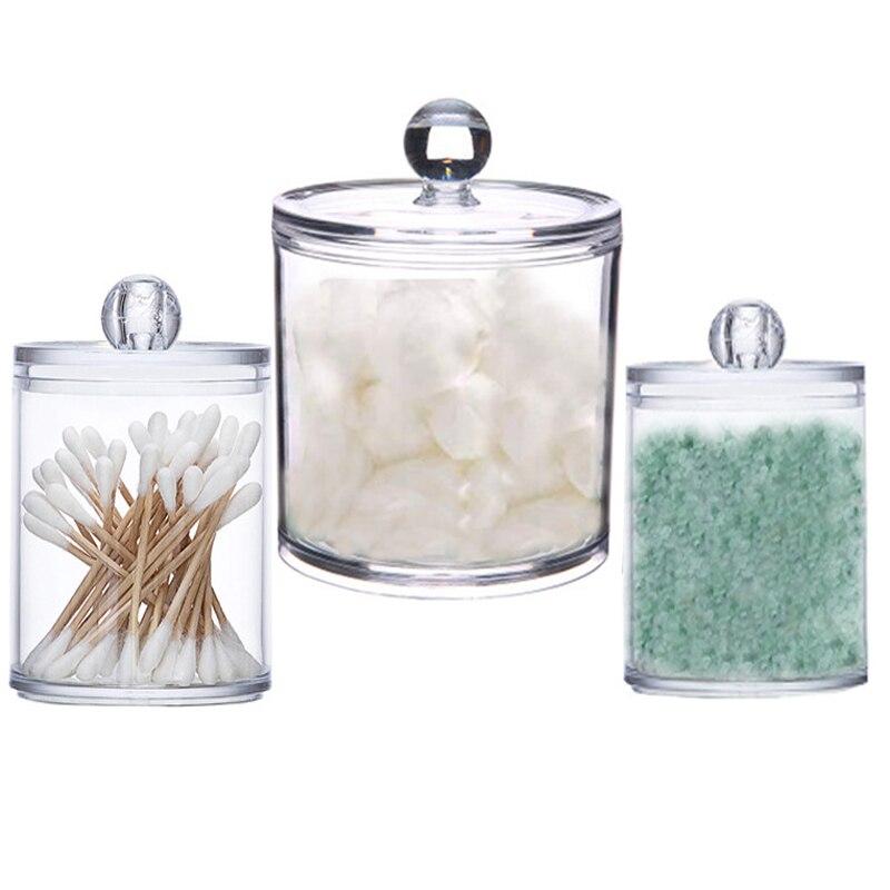 3PCS Transparent Storage Box Makeup Organizer Cosmetic Storage Jar Bathroom Accessories Cotton Ball Acrylic Plastic Box  Holder