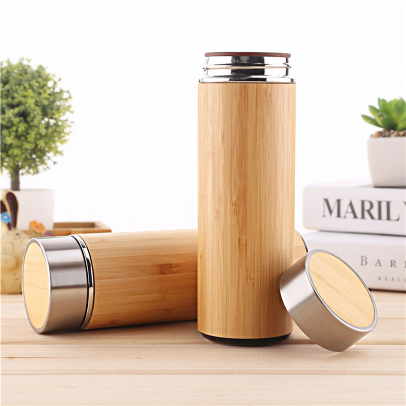1PCS/Pack Creative Bamboo Thermos Bottle 450ml Stainless Steel Tumbler Vacuum Flasks Insulated Bottles Coffee Mug For Travel Tea-in Water Bottles from Home & Garden