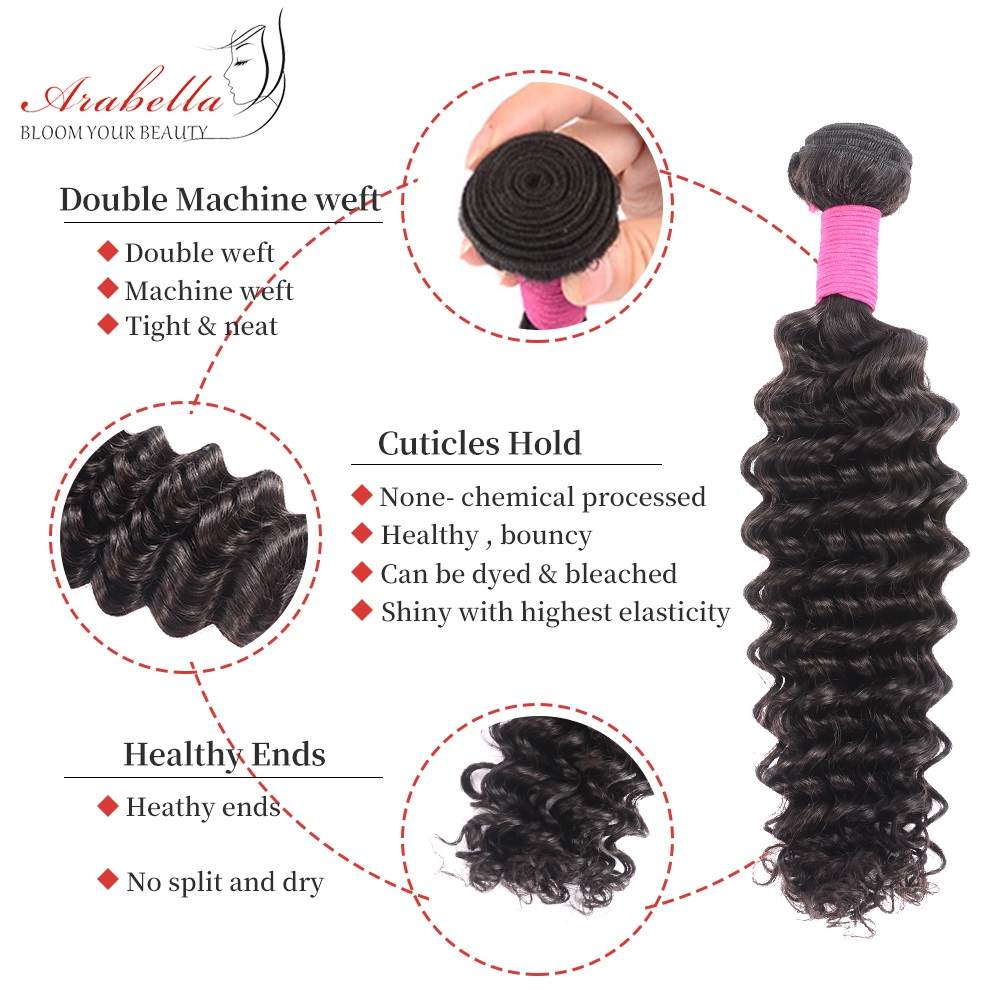 Deep Wave Hair Bundles 3 Pieces Natural Black Color Hair  Arabella  Hair  Bundles 4