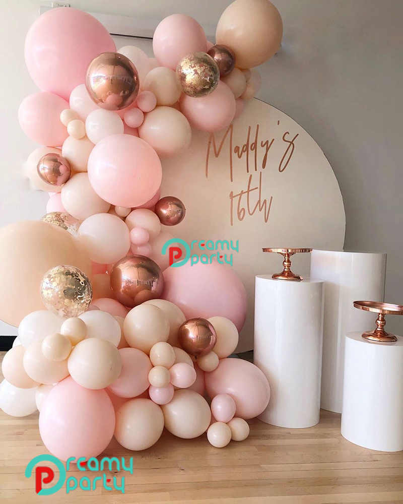 95PCS Peach Baby Pink WHITE Pastel Macaron Balloon Garland Arch Wedding Baby Shower Party Backdrop Wall Balloons Decor