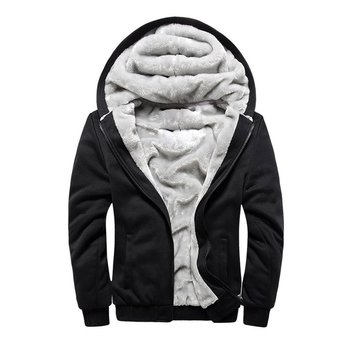 Winter jacket Men Hoodie Male Coat Hooded Brand Casual Zipper Thicken Velvet Hoody Man Polyester Tracksuit sale Clearance image