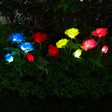 Stake-Lamp Led-Light Rose-Flower Garden Outdoor Decorate Lawn Path Yard Waterproof