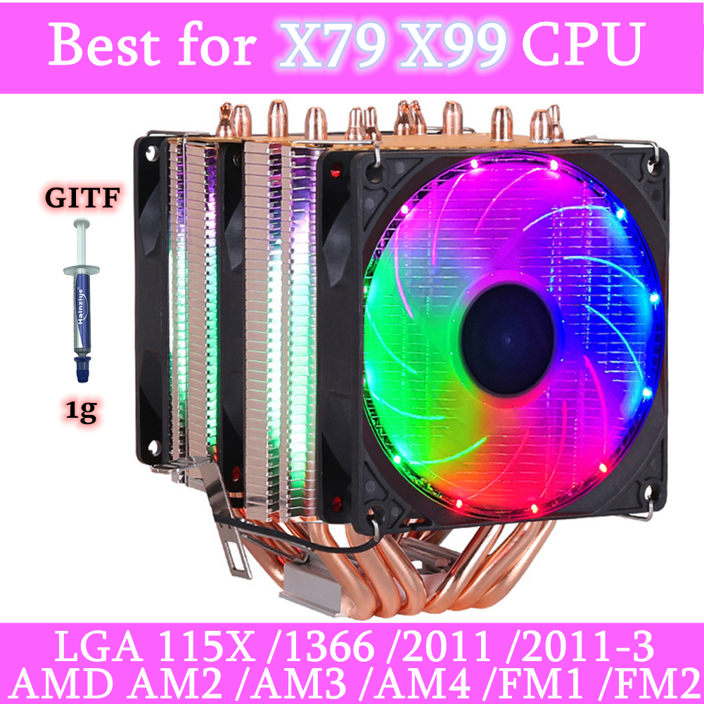 6 ciepła rury RGB chłodnica procesora chłodzenie chłodnicy 3PIN 4PIN 2 osłony wentylatora dla Intel 1150 1155 1156 1366 2011 X79 X99 płyta główna AM2/AM3/AM4