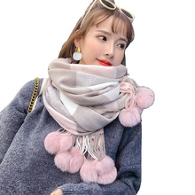 2020 New Rabbit Fur Pompom Stole Pashmina Cashmere Shawl Plaid Wool Scarf For Women Soft Warm Female Poncho Fashion Lady Scarves