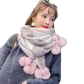 2020 New Rabbit Fur Pompom Stole Pashmina Cashmere Shawl Plaid Wool Scarf For Women Soft Warm Female Poncho Fashion Lady Scarves - DISCOUNT ITEM  45 OFF Apparel Accessories