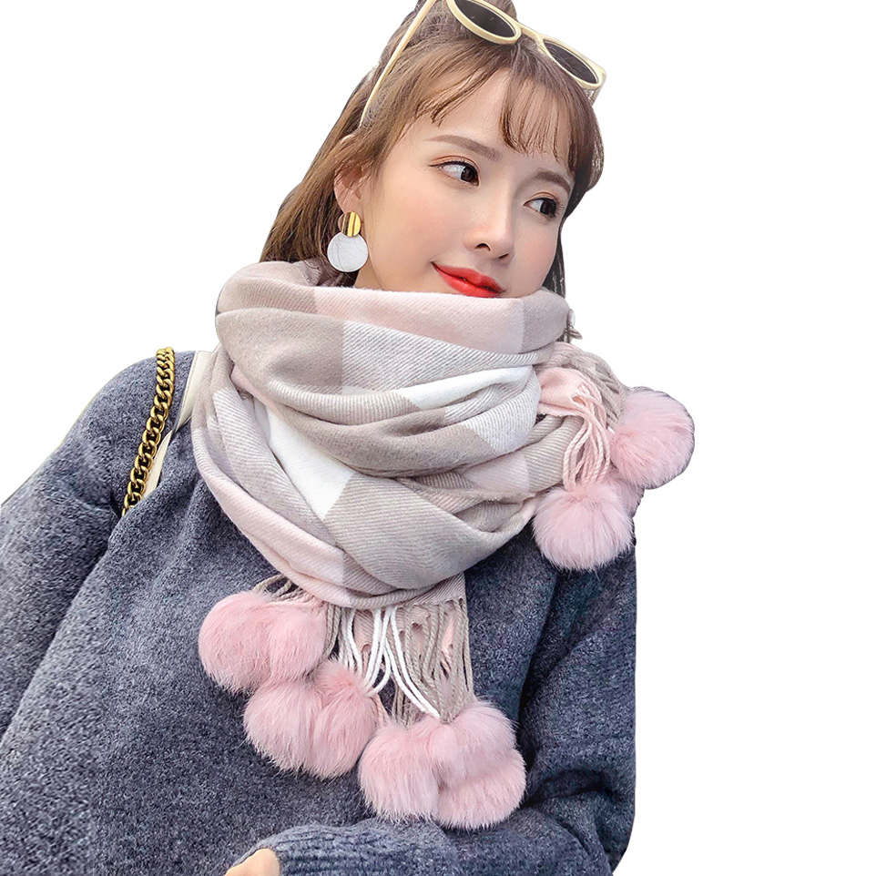 Playful Cute Rabbit Fur Pompoms Pashmina Cashmere Shawl Plaid Wool   Scarf   For Women Soft Warm Female Poncho Fashion Lady   Scarves