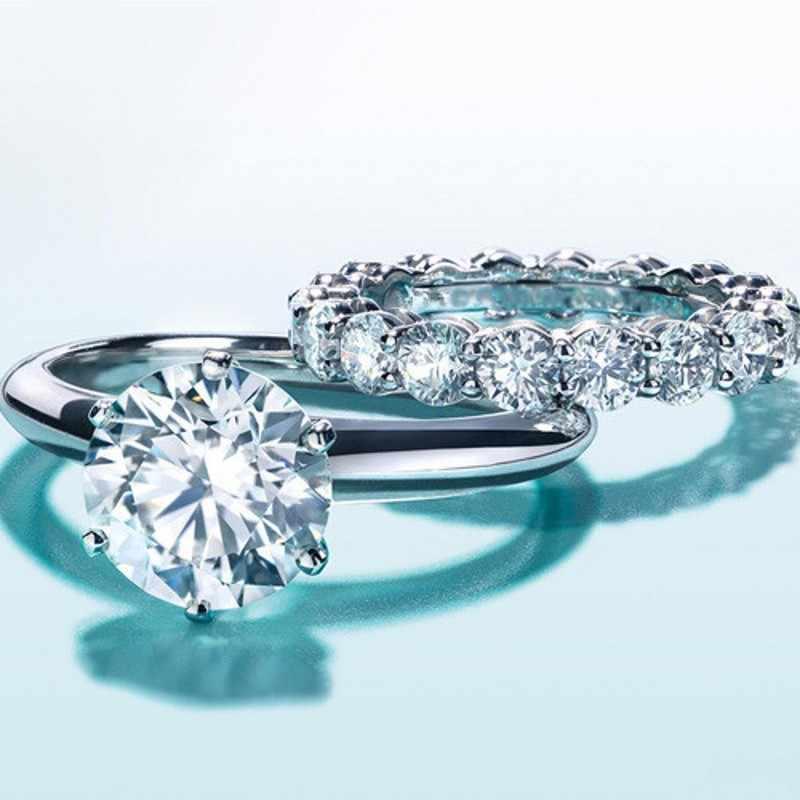 סוליטייר 100% 925 סטרלינג כסף כלה סטי טבעת סימולציה יהלומי Cz אירוסין נישואים לנשים המפלגה תכשיטים