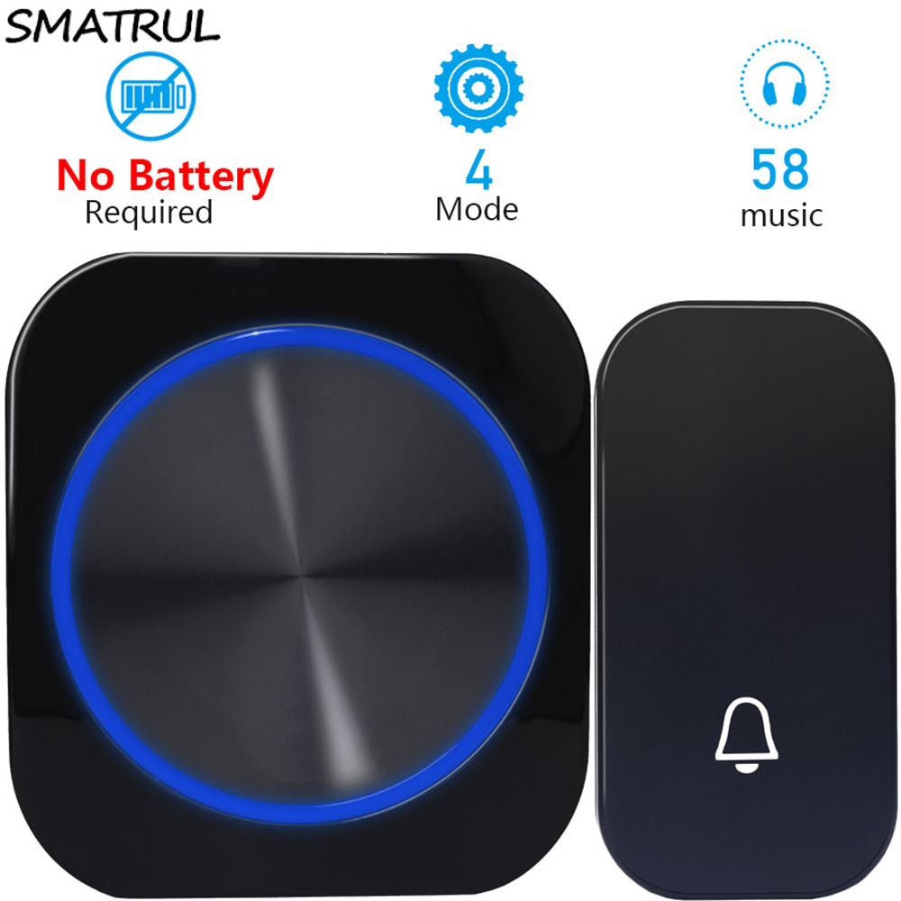 Self-Powered Wireless Doorbell Waterproof Cordless Chime Kit Includes Push and