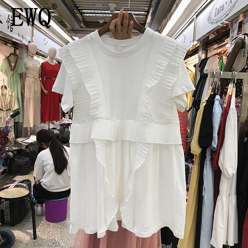 [EWQ] 2020 Spring Summer Round Collar Short Sleeve Solid Patchwork Ruffles Casual Pullvoers Dress Women Fashtion Tide AH250