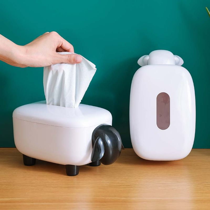 Novelty Sheep Facial Tissue Box Cover Napkin Holder Organizer Paper Towel Dispenser Container for Bathroom Car Office Home Decor