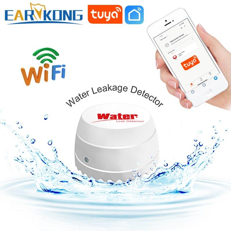 Датчик утечки воды EARYKONG с Wi-Fi, смарт-детектор утечки, с оповещением, управлением через приложение