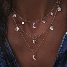 Fashion Layered Gold Women Fashion Clavicle Chain Round Moon Star Crystal Pendant Necklace Beach Jewelry Choker Necklace Jewelry