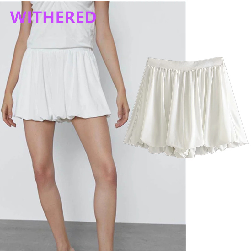 Withered 2020summer England Style Office Lady Solid Puff Pleated Loose Culotte Shorts Women Short Feminino Plus Size Women Short
