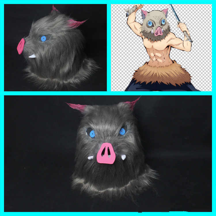 Anime Demon Slayer Kimetsu No Yaiba Hashibira Inosuke Cosplay Prop Pig Mask Waist Villus Cosplay Props for Carnival Fancy Party