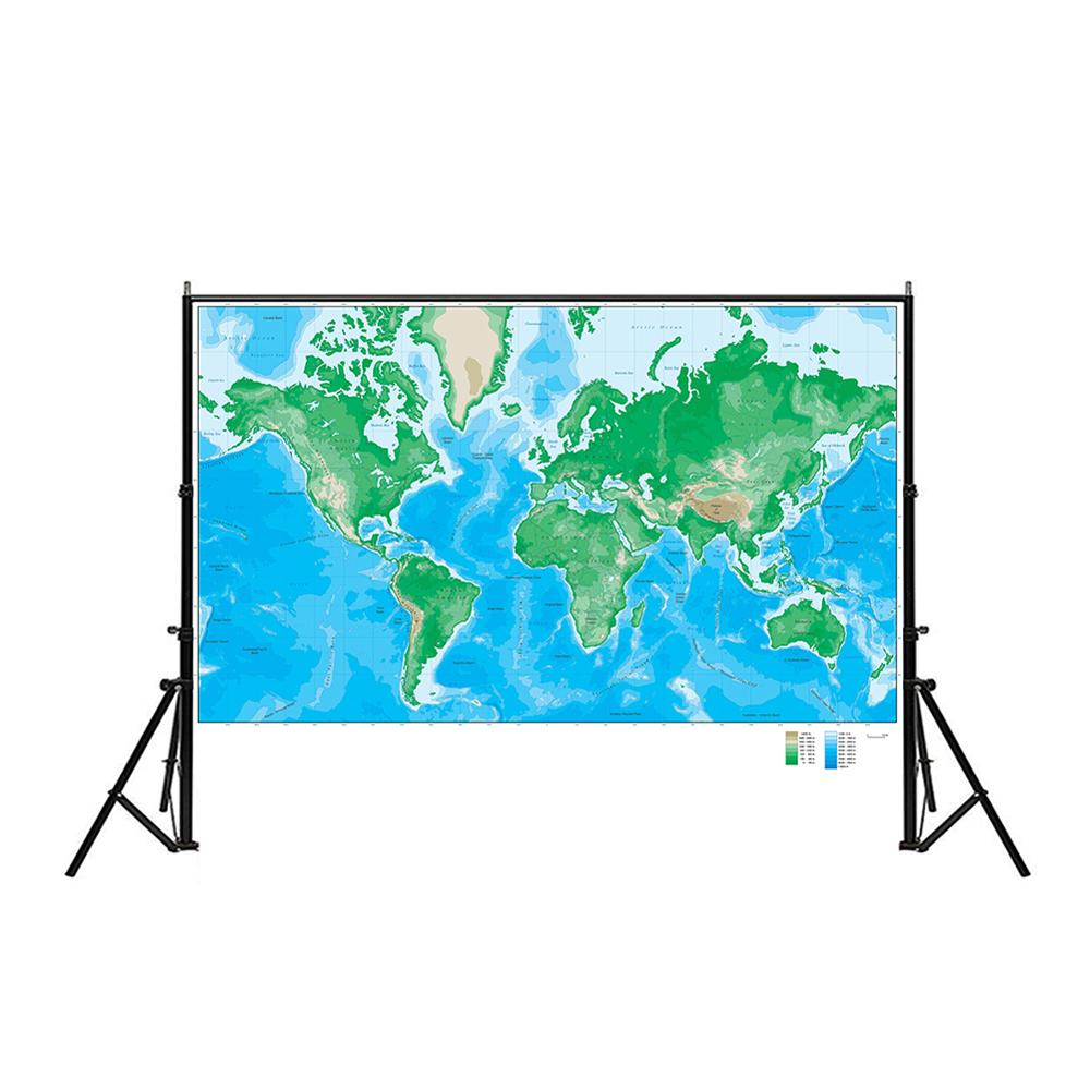 150x100cm World Elevation Map Foldable Non-woven Map For Geological Research