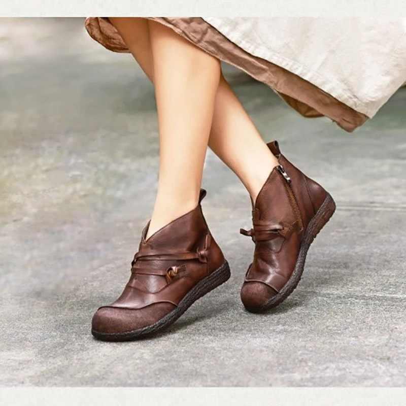Stiefel Frauen Herbst Winter Retro Fashion Echtes Leder Stiefeletten Zapatos De Mujer Vintage Warme Botas mujer invierno 2019