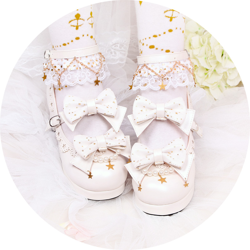 Sweet lolita shoes vintage cute lace bowknot round head thick heel women shoes princess kawaii shoes loli girl cosplay cosloli