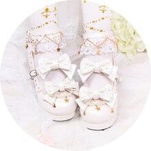 Kawaii Shoes Heel Loli Cute Girl Cosplay Vintage Sweet Women Lace Bowknot Princess Round-Head