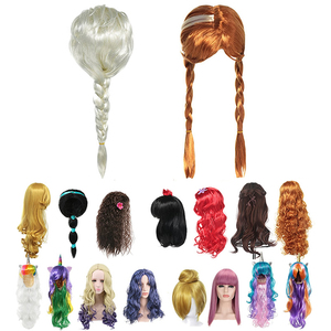 Elsa Wig Girl Anna Dress Up Braid Mermaid Ariel Princess Fancy Makeup Headwear Kids Halloween Party Descendants Mal Cosplay Hair(China)