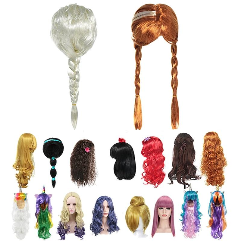 Elsa Wig Girl Anna Dress Up Braid Mermaid Princess Fancy Makeup Headwear Kids Halloween Party Evie Queen Mal Cosplay Hair Hair Accessories Aliexpress