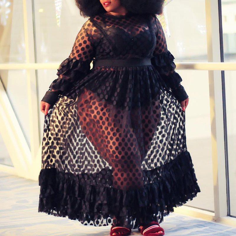 Grande taille fête Sexy Club africain noir été femmes longues robes Transparent à volants manches maille taille haute pure robe femme