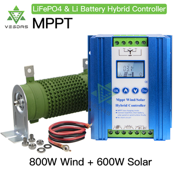 1400W MPPT Wind Solar Hybrid Booster Charge Controller 12V 24V With PWM dump load Compatible with lithium lead-acid battery