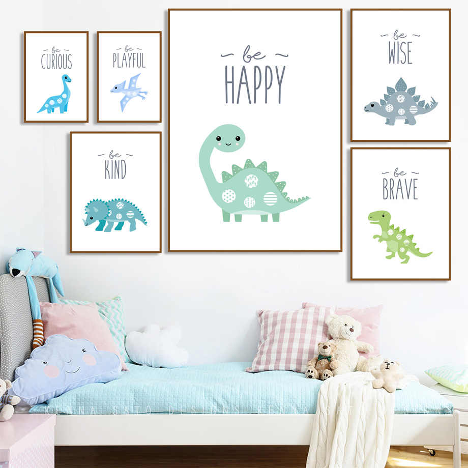 Dinosaur Pterosaur Triceratops Cartoon Animals Wall Art Canvas Painting Nordic Posters And Prints Wall Pictures For Kids Room