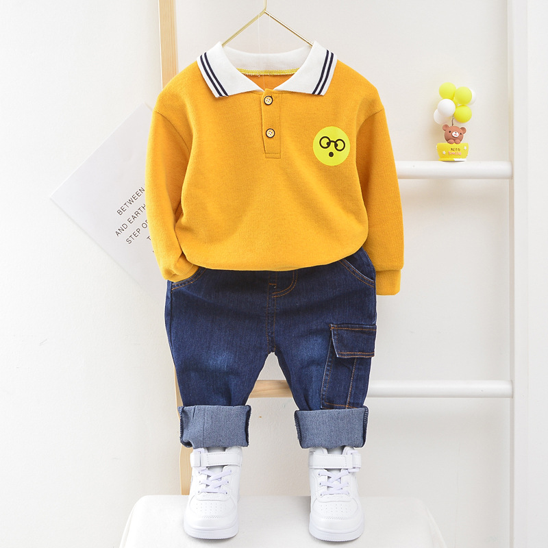 Baby Boy's Clothes New Jeans Long Sleeve T-Shirt Two-Piece Cotton Lapel Cartoon Smiley Print Baby Clothing Casual Sports Set