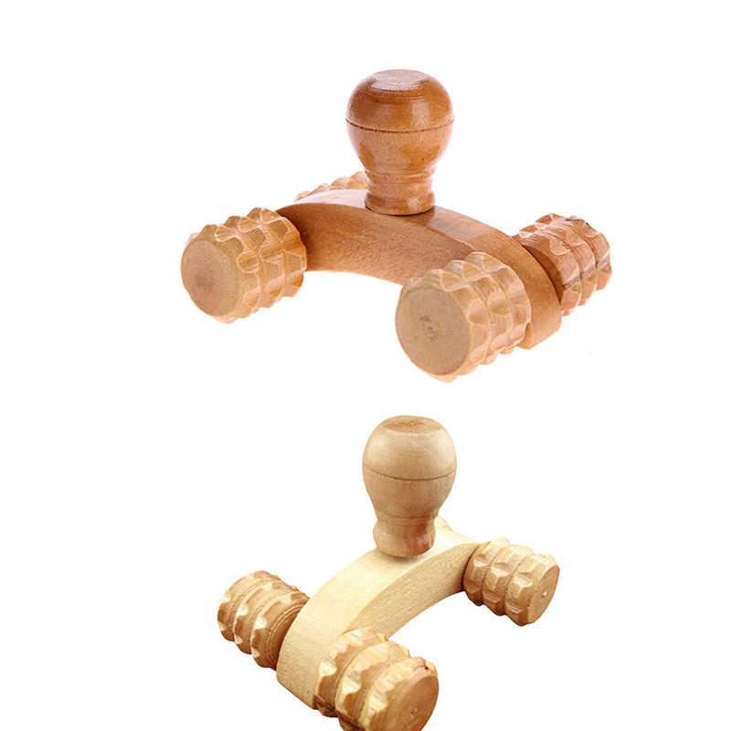 Z litego drewna całego ciała cztery koła drewniany samochód Roller relaksujący masaż dłoni narzędzie refleksologia twarz ręka stóp terapia dla ciała