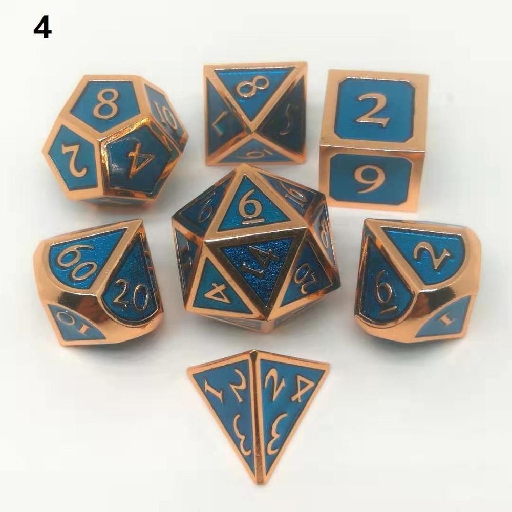 Hot Sale Upscale Metal Dice Polyhedral Dices  Dnd Dice Set Dados Rpg  Dobbelstenen Dados Rol  D4 D6 D8 D10 D12 D20 7pcs/set
