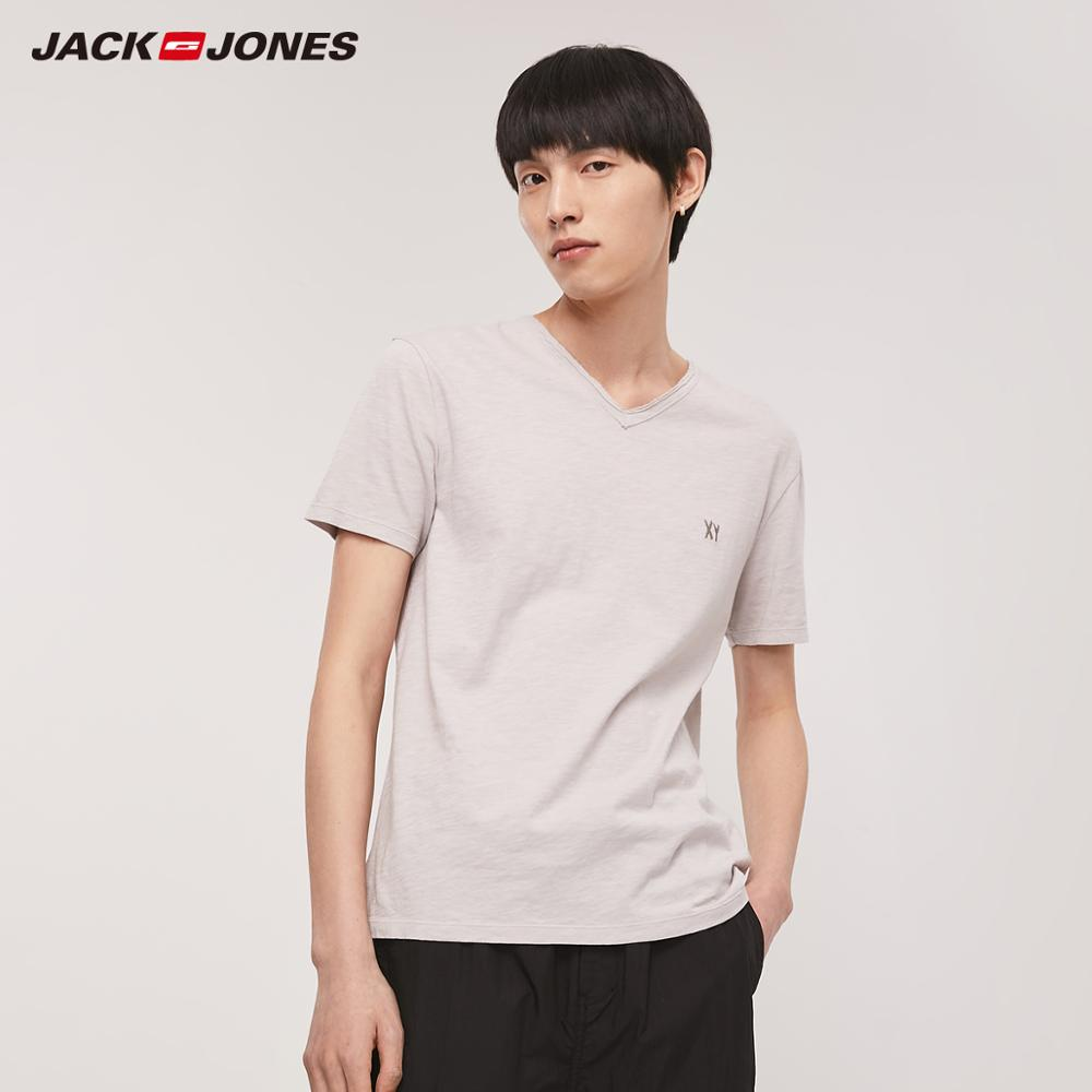 JackJones Men's Straight Fit V-neckline Embroidered Letters Short-sleeved T-shirt|Basic 219201534