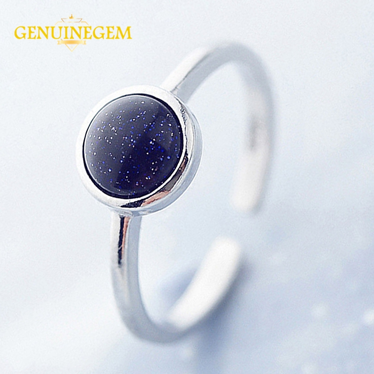 Jewepisode New Fashion Silver 925 Jewelry Ring 6MM Round Blue Sand Stone Rings For Women Anniversary Party Fine Jewelry Gifts