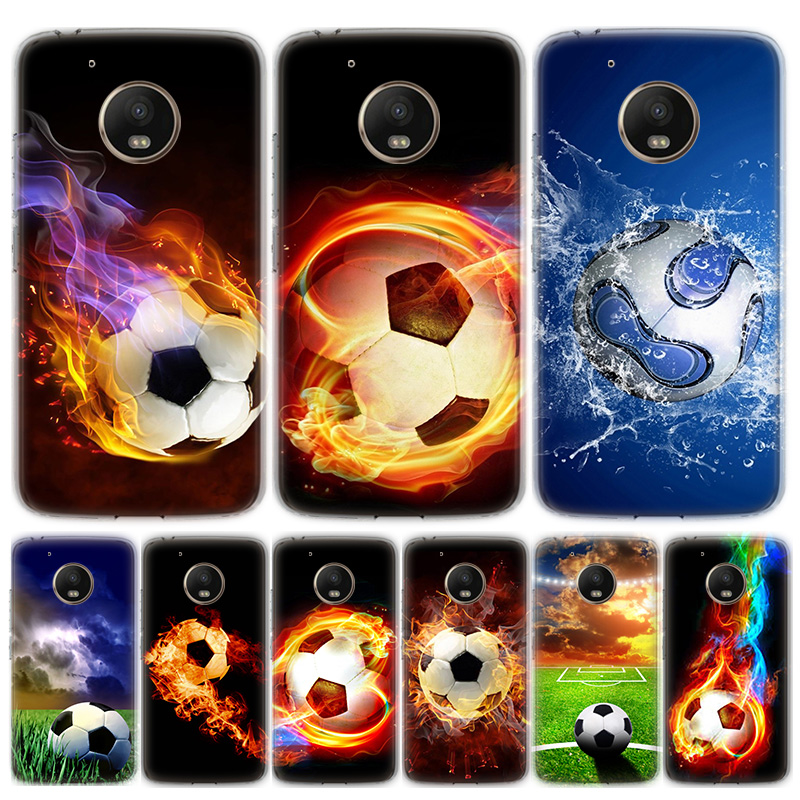 Fire Football Soccer Ball Phone Case For Motorola MOTO G8 G7 G6 G5 G5S G4 E6 E5 E4 Plus Play Power One Action Soft Silicone TPU