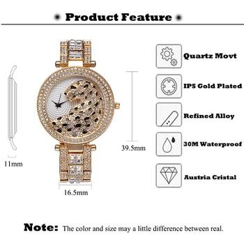 MISSFOX Women Quartz Watch Fashion Bling Casual Ladies Watch Female Quartz Gold Watch Crystal Diamond Leopard For Women Clock 2