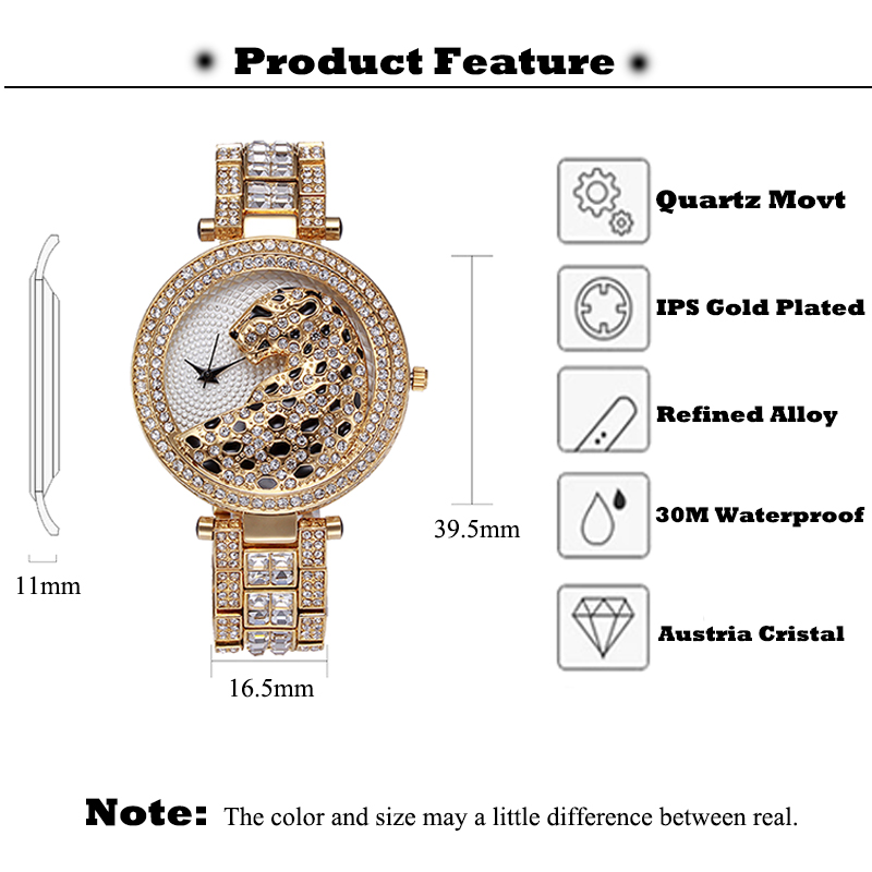 MISSFOX Ladies Watch Crystal Diamond Women Clock Bling Leopard Female Fashion Quartz