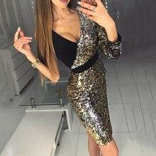 Золотое коктейльное платье, элегантное, с v-образным вырезом, с рукавами 3/4, Русалочка, короткое, мини, с блестками, для свадебной вечеринки, Формальное, для ночного клуба, коктейльное платье
