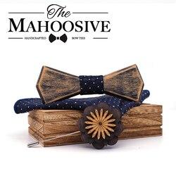 Alte farbige Vantage Holz Hohlen Holz Bogen Krawatten Bowtie Mit Tasche Platz Brosche Für Männer Weihnachten Geschenk Set Mit Box krawatten