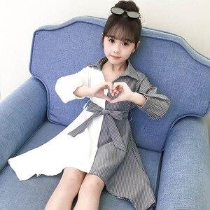 Image 5 - בנות שמלת פסים טלאים המפלגה שמלת לילדה להנמיך צווארון ילדים שמלה עם Bow חגורת סתיו חידוש תלבושות עבור בנות