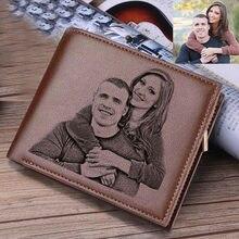 Carteiras gravadas para homens imagem carteira trifold curto ultra-fino moda jovem carteira de couro clipe de dinheiro personalizado foto presente