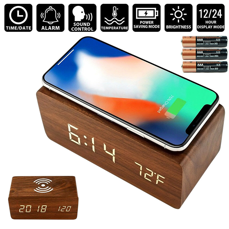 Led Voice Control Alarm Clock Wood Mute QI Wireless Charging Dual Power Supply For Samsung Or IPhone Multifunction Awakening