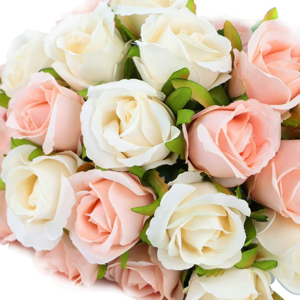 12 Heads Artificial Silk Rose Flowers Bouquet White Pink Red for Wedding Bridal Party Home House Garden Festival Bar Decoration