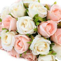 Ramo de flores rosas seda artificiales, 12 cabezas, blanco, rosa, rojo, para boda, fiesta nupcial, casa, jardín, Festival, decoración de Bar