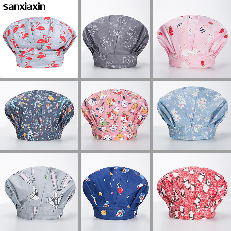New Male And Female Surgical Cap Operating Room Medical Nurses Breathable Cotton Printing Nurse Hat Beauty Salon Navy Pharmacy