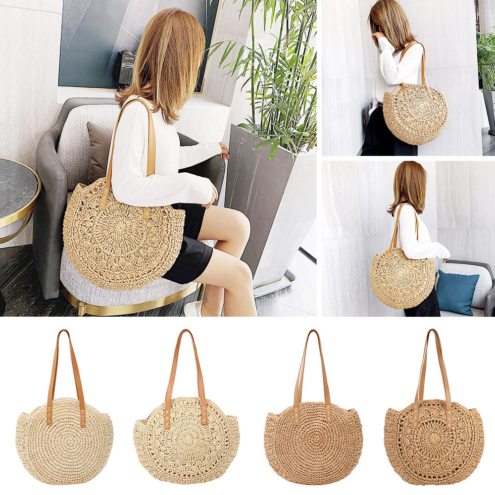 2020 Beach Straw Bag Bohemian Summer Rattan Handbag New Fashion Travel Ladies Handbag Shoulder Bag Bolsos De Mimbres Paja