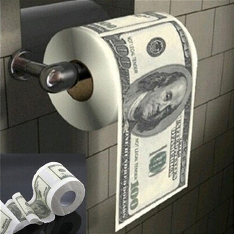 US $100 Dollar Bill Money Toilet Paper Printed Roll Tissue Humor Joke Party Gift  Funny Gag Gift