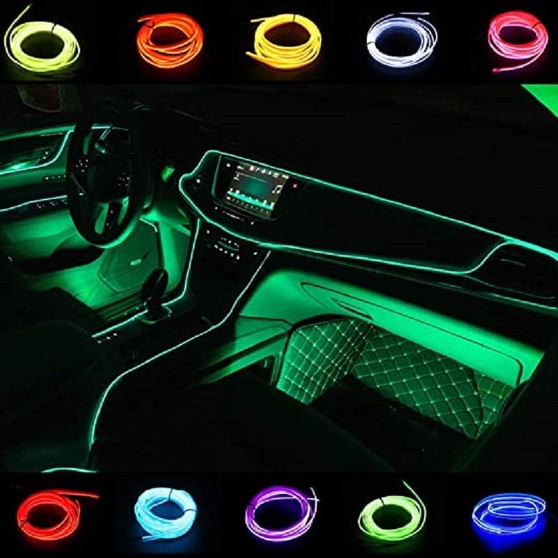 1m/2m/3m/5m carro interior iluminação led tira decoração guirlanda fio corda tubo linha flexível luz de néon com movimentação do cigarro|Lâmpada decorativa|   -