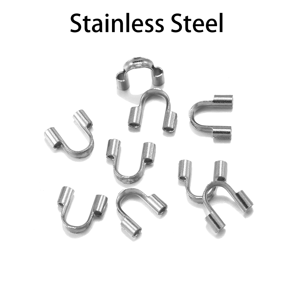 30pcs Stainless Steel Wire Protectors Wire Guard Guardian Protectors Loops U Shape Clasps Connector For Jewelry Making Supplies